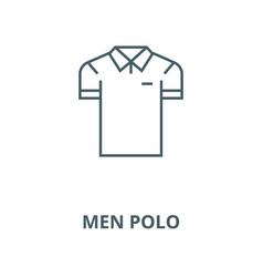 men polo line icon linear concept outline vector image