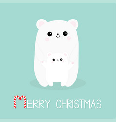 merry christmas candy cane polar white small vector image