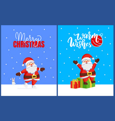 merry christmas set of cards with santa and bunny vector image