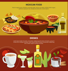 Mexican food and drinks banners vector