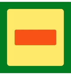 Minus flat orange and yellow colors rounded button vector