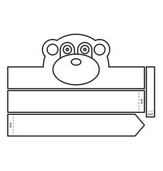 Monkey coloring headband vector