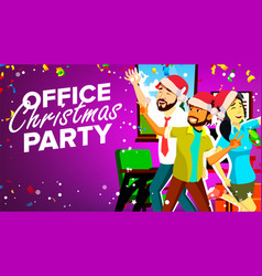 office christmas party smiling happy vector image