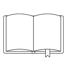 Open book with bookmark icon outline style vector image