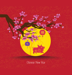 oriental chinese new year cherry blossom and vector image