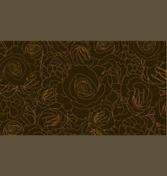 pattern from roses buds flower buds in outline vector image