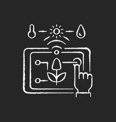 Precision agriculture chalk white icon on black vector