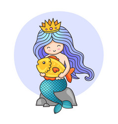 Princess mermaid sitting on a rock holding big vector