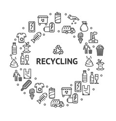 recycling signs round design template thin line vector image