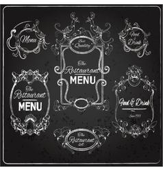 Restaurant labels chalkboard vector image