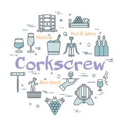 round concept of wine corkscrew vector image