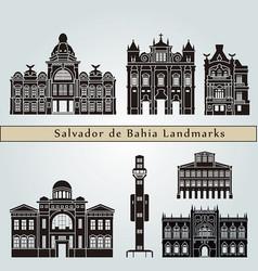 salvador de bahia v2 landmarks vector image