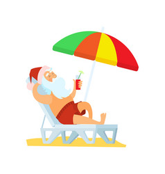 Santa claus lying on sunbed under umbrella vector