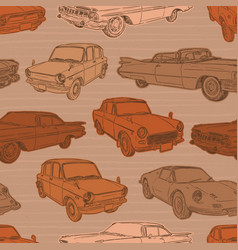 seamless pattern with cars retro car vector image