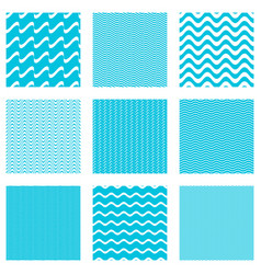 seamless wavy line patterns collection vector image