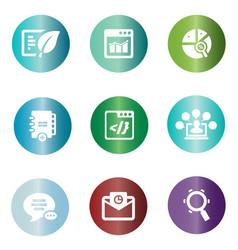 seo icons in colorful circle vector image