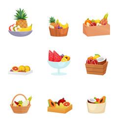 Set baskets bowls dishes vases vector
