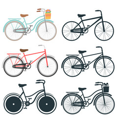 set bicycle icons vector image