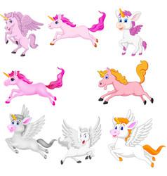 set cute cartoon unicorns isolated vector image