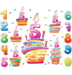 set happy birthday cakes and numbers for each vector image
