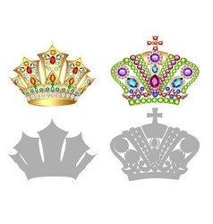 set of golden crown tiara diadem and vector image