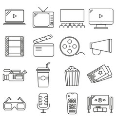set of icons in line style cinema vector image