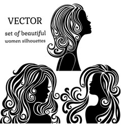Set of women head silhouettes with curly vector