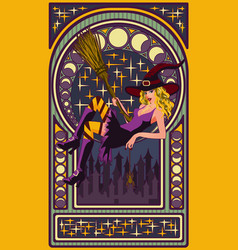 sexy witch with a broom art nouveau style card vector image