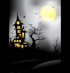 Silhouette castle at night vector