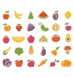 Simple icons of vegetables and fruit vector image