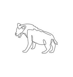 Single continuous line drawing ferocious hyena vector