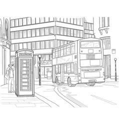 sketch of london street vector image