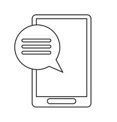 smartphone communication bubble speech outline vector image