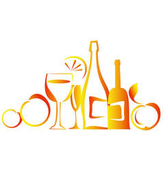 Still life with bottles vector