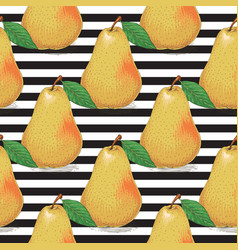 striped seamless pattern ripe yellow pears vector image