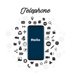telephone hello mobile phone icons background vect vector image