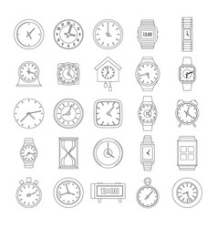 time and clock icons set outline style vector image