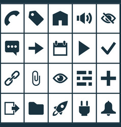 user icons set with add link call and other vector image