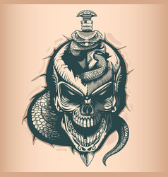 Vintage skull with sword and snake monochrome vector