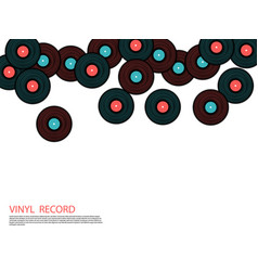 Vinyl records falling musical background vector