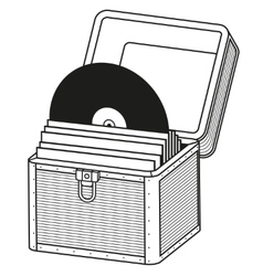 Vinyl storage case outline vector