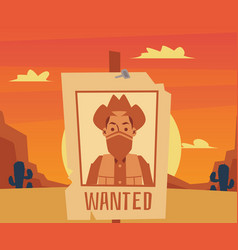 wanted poster for cartoon cowboy on desert sunset vector image