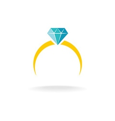 wedding engagement ring simple color logo vector image
