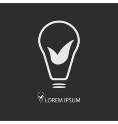 White bulb with leaves on dark grey vector image