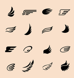 Wings icons set 4 vector