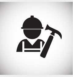 worker with hammer on white background vector image