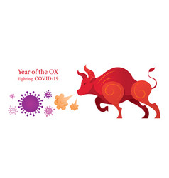 Year ox fighting with covid-19 vector