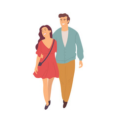 young people walk in pairs isolated characters vector image