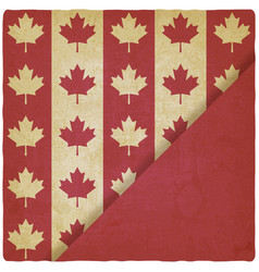 canadian flag symbols vintage background vector image