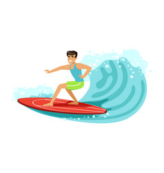 cheerful male surfer riding a big wave water vector image